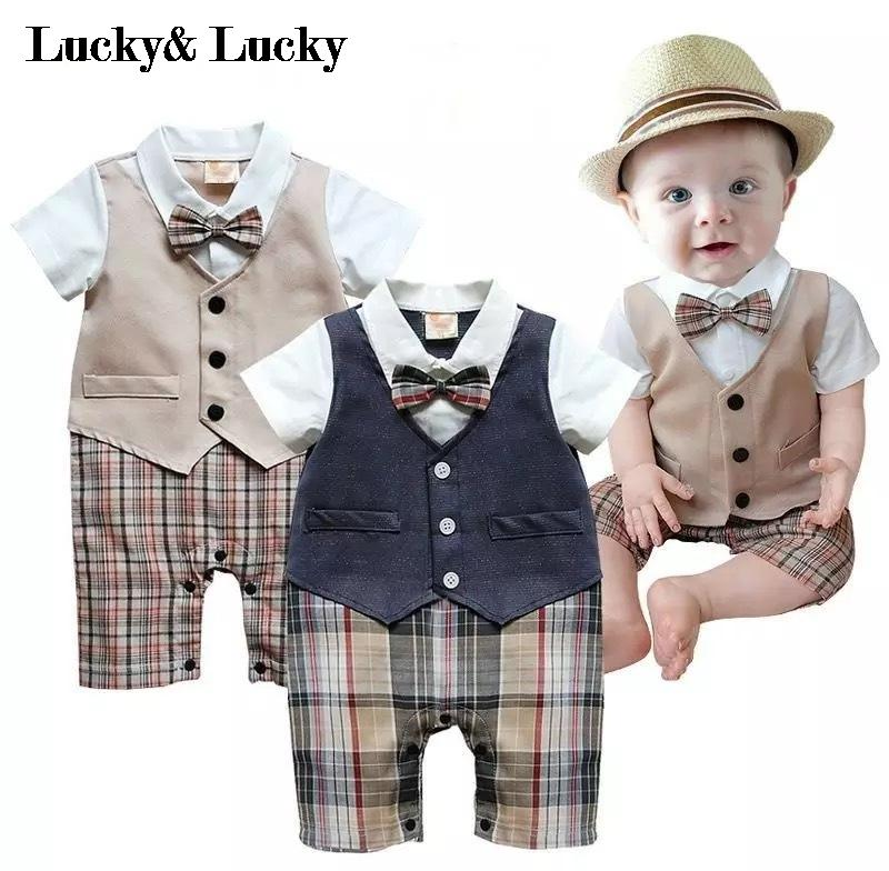 gentleman baby new style short sleeve wedding and party baby boys clothes cut rompers new born clothes(China (Mainland))