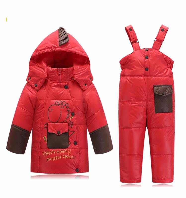Скидки на Костюм набор детей мальчик девочка одежда зимняя Куртка Комбинезоны Парки Утка Вниз толстый Слой Брюки С Капюшоном Верхняя Одежда детская одежда