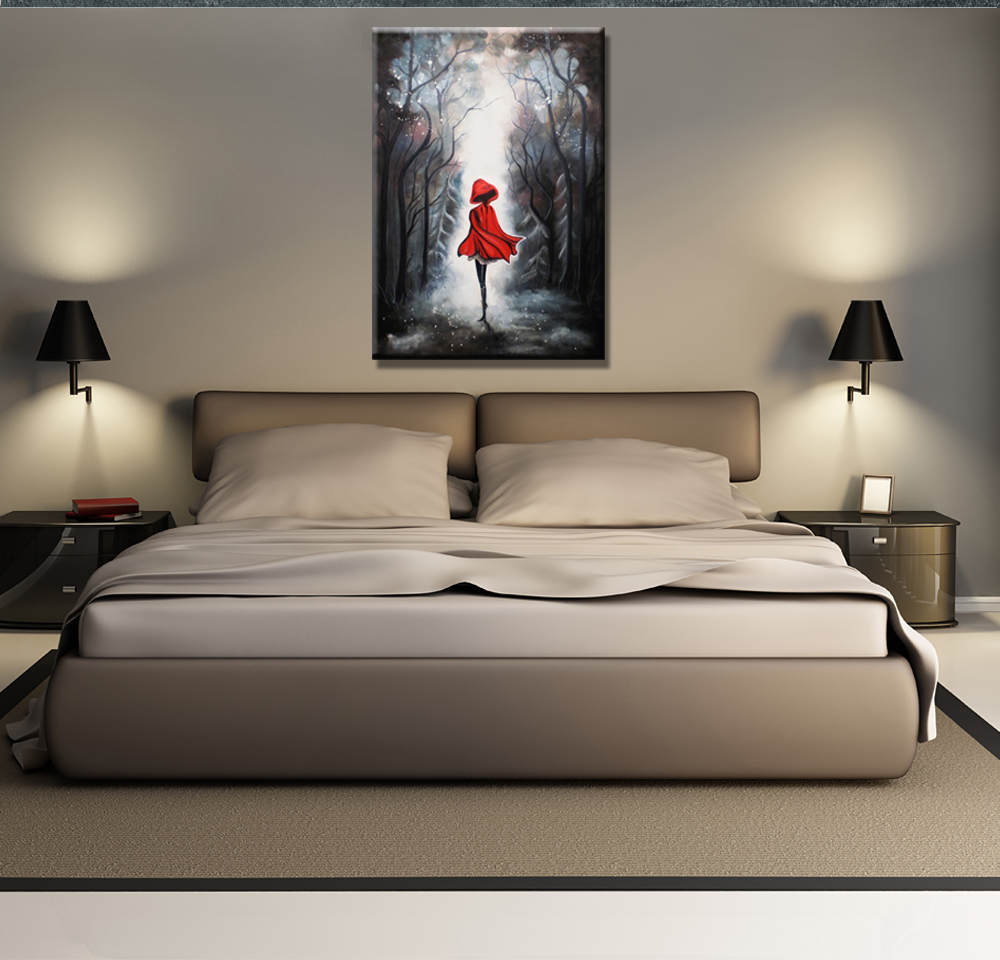 Hand painted painting for home decoration, Little Red, oil paintings on canvas, single piece, wall art picture ZR-46(China (Mainland))
