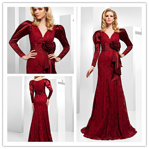 Free Shipping Trumpet/ Mermaid V-neck Floor-length Lace And Stretch Satin Evening Dress