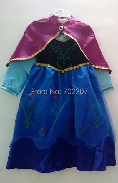 wholesale 2014 2 color options stock trade new ELSA ANNA princess dress child dress + cloak 5pcs/lot free shipping<br><br>Aliexpress