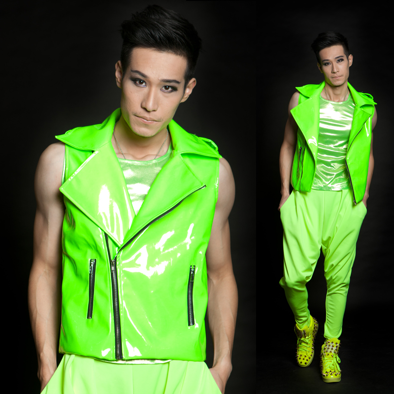 Hot ds fashion men 39 s brand stage singer clothing male for Neon green shirts for men