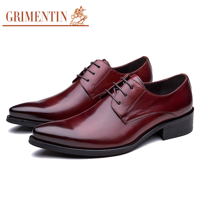 GRIMENTIN fashion vintage luxury men dress shoes leather black brown business office wedding male formal shoes for men flats(China (Mainland))