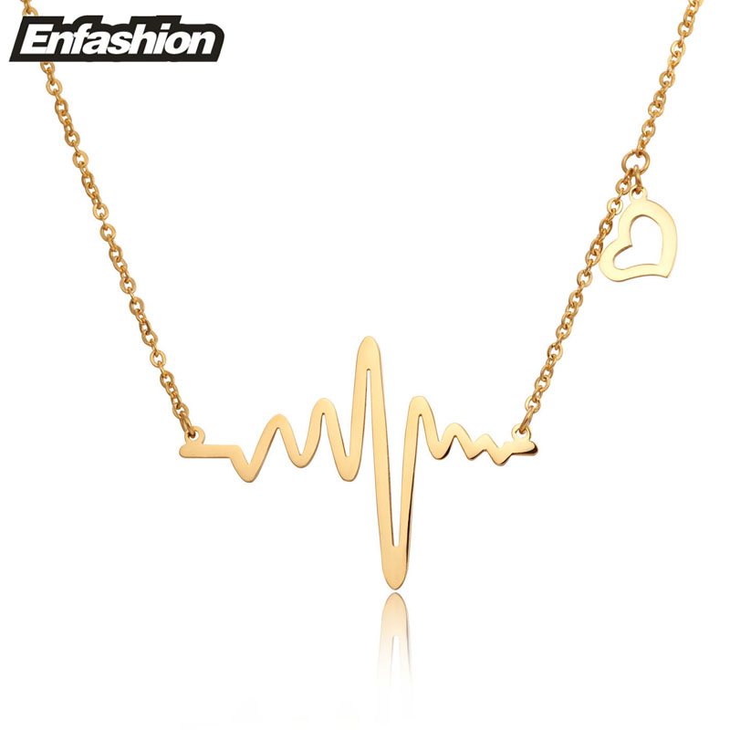 Buy Fashion Heartbeat Necklace Women Pendant Necklace 18k Rose Gold Plated