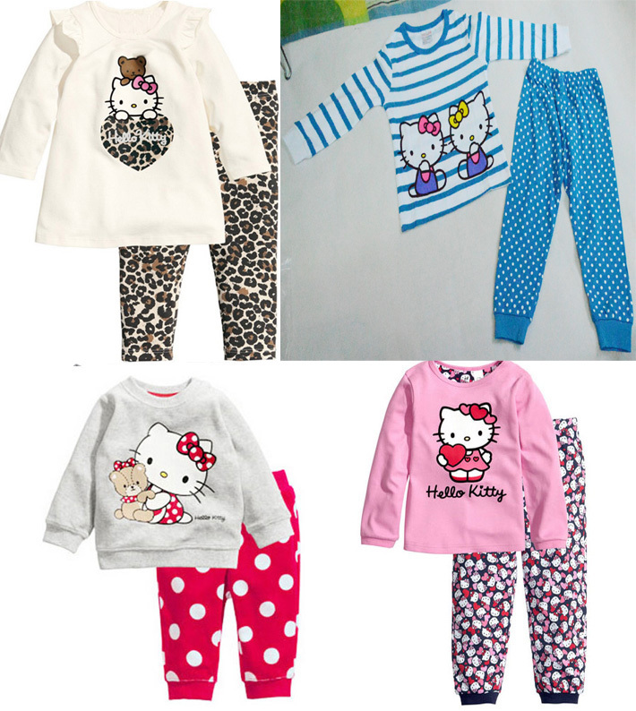 New 2015 Hello Kitty Children Baby Girls Clothing Sets girls kids Clothes suits pant+shirt sleepwear cartoon long sleeve pajamas(China (Mainland))