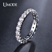 UMODE Wedding 3mm 0.1 Carat Round CZ White Gold Plated Simulated Diamond Eternity Ring Bands New Jewelry for Women Bague UR0279(China (Mainland))
