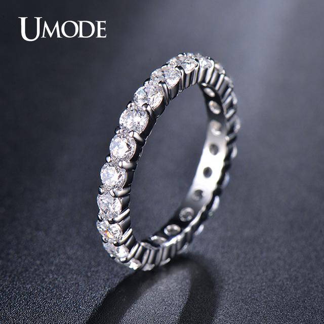Umode свадьбы 3 мм 0.1 карат круглый CZ белый позолоченные имитация вечность кольцо ...