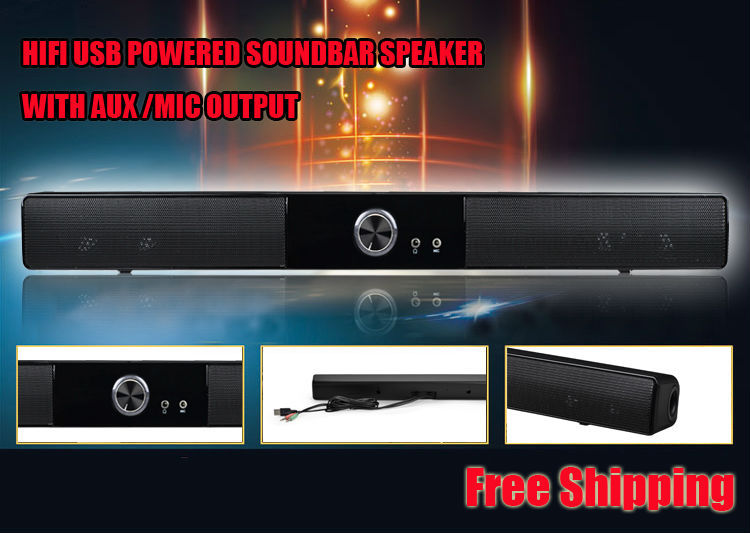 POWERFUL USB MINI SOUNDBAR / SOUND BAR , HIFI USB POWERED SOUNDBAR SPEAKER FOR COMPUTER /PC/ LAPTOP/TABLETS /SMALL TV ETC(China (Mainland))