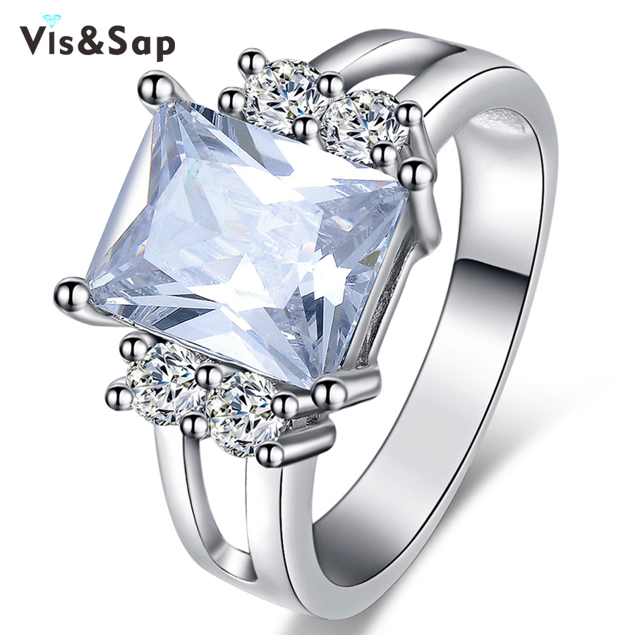 White Gold plated rings 3ct square stone Wedding Rings For Women fashion Jewelry Bijoux Wholesale cz diamond top quality VSR155(China (Mainland))