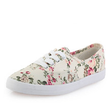 fresh new 2014 canvas shoes women casual shoes low flat cotton-made lazy single shoes flower printed platform  female 517