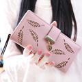 Carteras Mujer Women Wallet Hollow Leaves Leather Clutch Wallet Female Case Phone Femininas Money Bag Purse