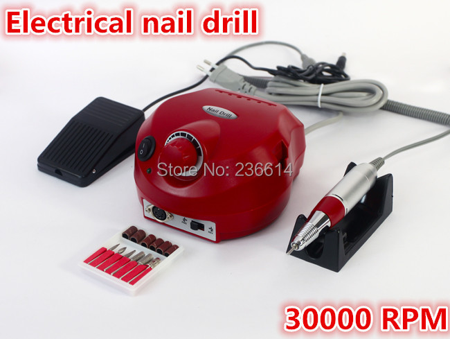 Free Shipping Professional 30000 RPM electric acrylic nail drill file buffer bits Manicure Pedicure Kit(China (Mainland))