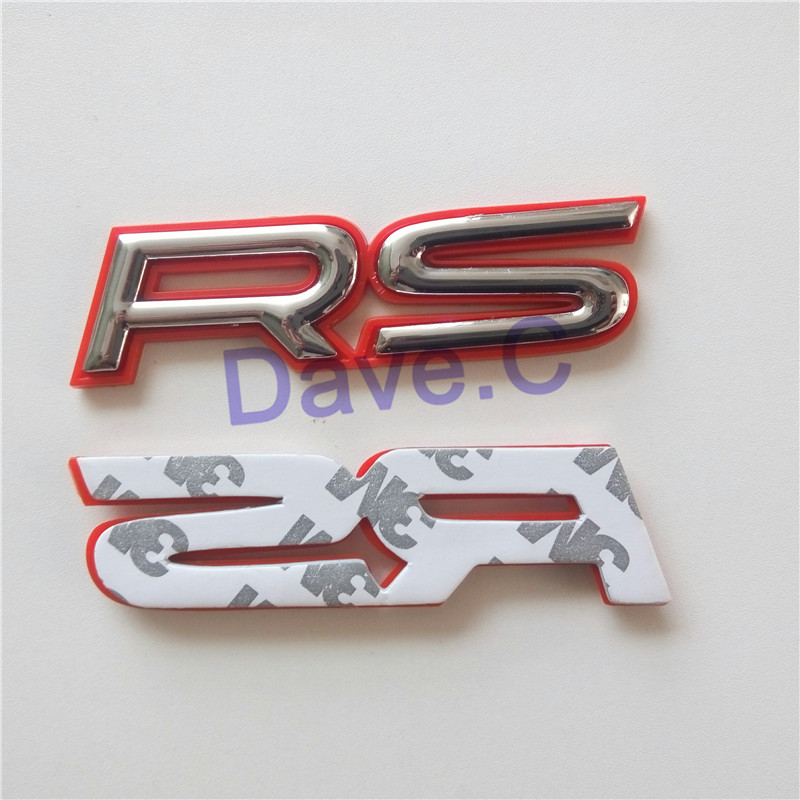 Car RS Red Silver ABS Rear Trunk Emblem 3D Letter Sticker Decal Nameplated With Adhesive(China (Mainland))