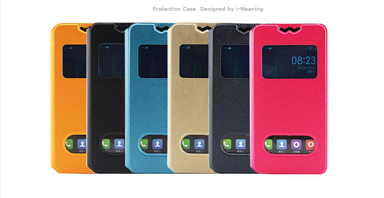 New 360 Rotating Stand Flip Double View Window Leather Cover For OPPO R7 Plus Case Cell Phone Cases Accessories 6 Colors(China (Mainland))
