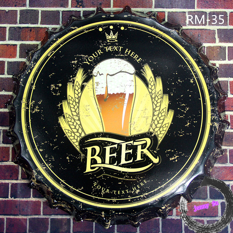 Round Beer Cap Beer signs Vintage Metal Signs Bar Pub Coffee Retro Craft Poster Wall Decor <35cm,RM-35>(China (Mainland))