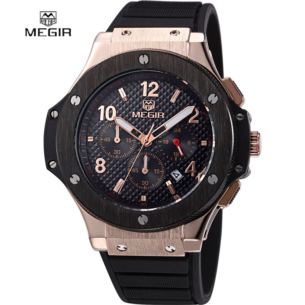 2016 new fashion military stylish MEGIR brand design army business calendar rubber men male clock sport luxury wrist watch 3002(China (Mainland))