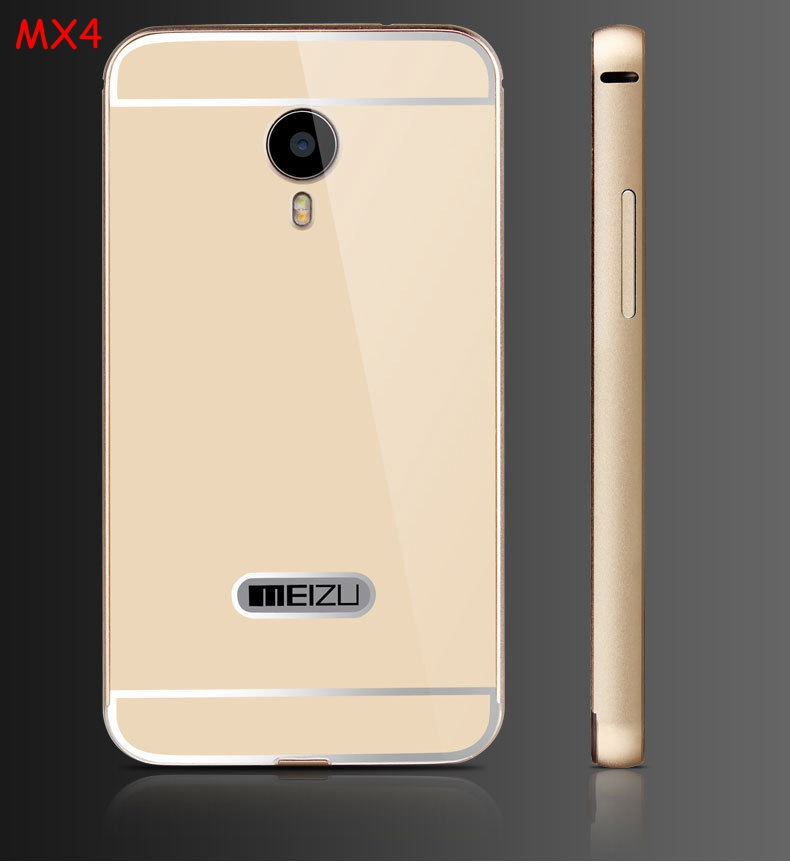 For Meizu MX4 Cases Metal Aluminum Frame & Acrylic Back Cover Cellphone ForMeizu MX4 Anti-knock Celular Phone Skin Coque np310(China (Mainland))