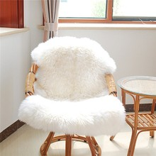 Soft Hairy Carpet Sheepskin Chair Cover Seat Pad Plain Skin Fur Plain Fluffy Area Rugs Washable Bedroom Faux Mat(China (Mainland))