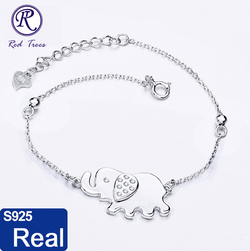 Real 925 Sterling Silver Bracelet For Women / Girls Elephant Charms Best Gift For Lover - Red Trees Fine Jewelry Wholesale(China (Mainland))