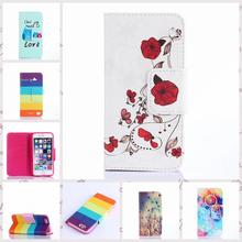 For iPhone 6 Plus 6S plus Pattern PU Leather Phone Case For iPhone6 Plus Capa TPU Back Cover Flip Shell Stand Bag Wallet Holder