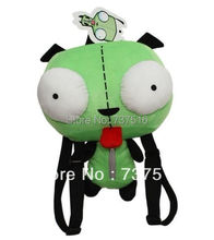New Hot sale Alien Invader Zim 3D Eyes Robot Gir Cute Stuffed Plush Backpack Green Bag Xmas gift(China (Mainland))