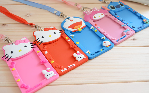 Super Kawaii NEW 3D Hello KITTY Silicone Rubber BUS & ID Card Holder Case Pouch BAG Holder Case ; ID Message PAD Case Holder(China (Mainland))