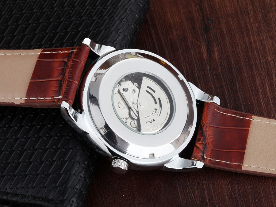 GOER марка Скелет человека автоматические часы Мужчины наручные часы Световой цифровой движения Кожаный механические водонепроницаемые