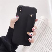 פשוט מט סוכריות יד רצועת יד להקת סיליקון מקרה עבור iPhone 6 6 s 7 8 בתוספת X Xr Xs מקסימום חזרה טלפון Stand טבעת להגן על כיסוי(China)