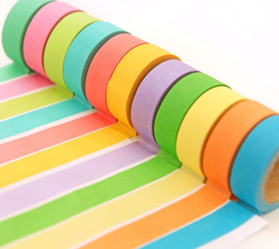 1 Rolls /lot New Japanese Decorative Cotton Fabric colours Stripe Washi Tapes WholeSale(China (Mainland))