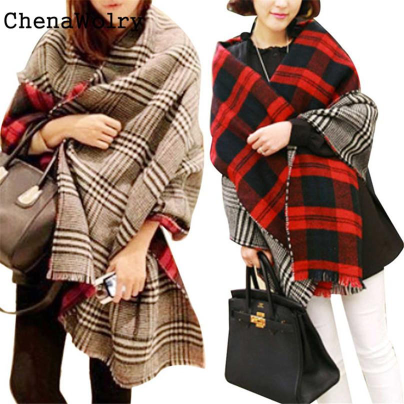 ChenaWolry 2017 Attractive Luxury New Women Tassel Lattice Large Checked Plaid Tartan Winter scarves Wraps Shawl Cappa O 26