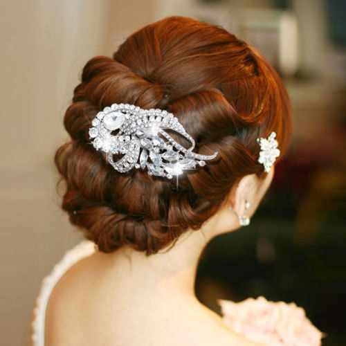 Rhinestone Crystals Ribbon Hair Comb Women Hairpins Bridal Wedding Jewelry Accessories 4243 - SEP store