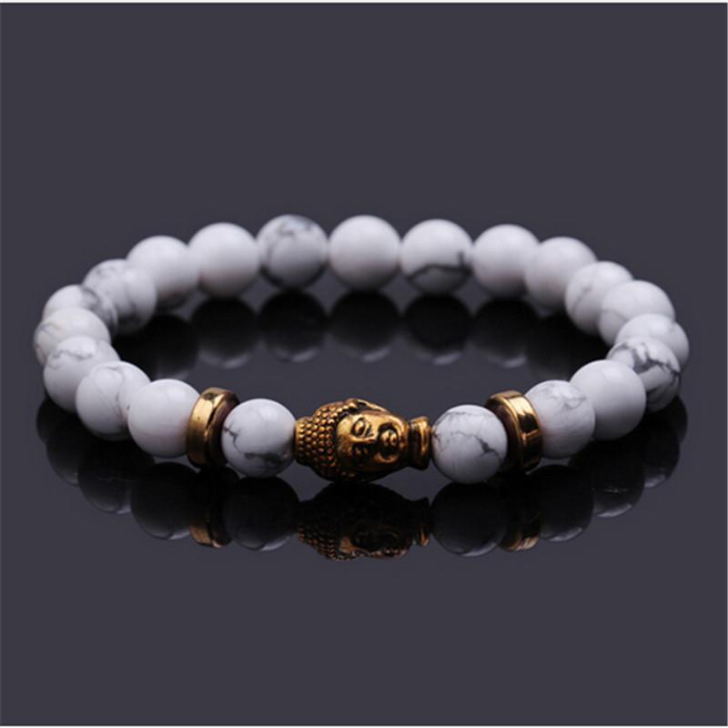 2016 New Fashion Natural Volcanic Rock Bead 8mm Tibet Gold Skull Lucky Man Bracelet Hot Selling(China (Mainland))