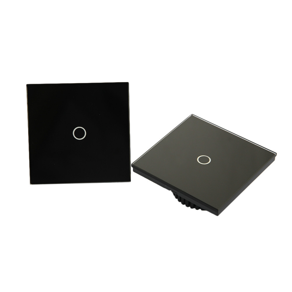 US Stock 2pcs/lot 1 Gang 2Way Wall Light Touch Switch Crystal Glass Panel 50Hz- 60Hz Switchs(China (Mainland))