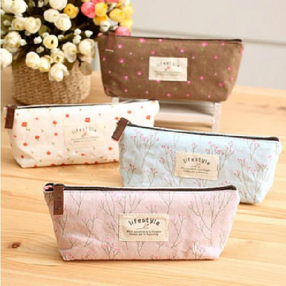 Mini Retro Flower Floral Lace Pencil Shape Pen Case Cosmetic Case Makeup Make Up Bag Zipper