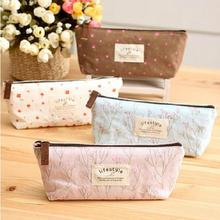 Free Shipping Mini Retro Flower Floral Lace Pencil Shape Pen Case Cosmetic Case Makeup Make Up Bag Zipper Pouch Purse