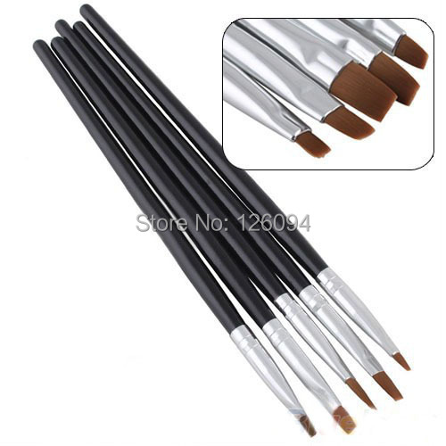 5PCS/Set Nail Art Acrylic UV Gel Salon Pens Flat Brushes Kit Tool