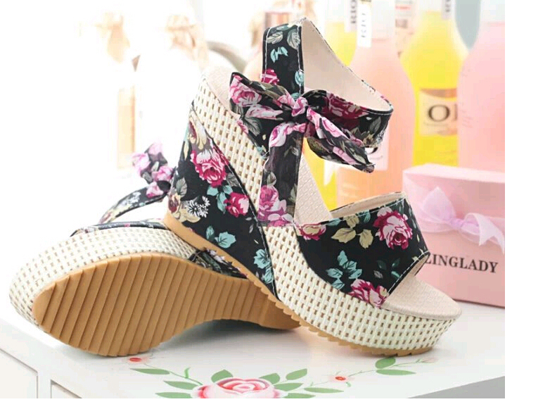 Summer wedges sandals female shoes women platform lace belt bow Flip Flops open toe high-heeled - Online Store 139992 store