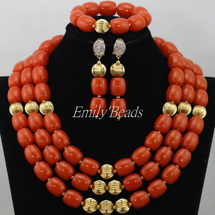 Free Shipping! 2016 Latest New African Coral Beads Bridal Jewelry Set African Nigerian Wedding Party Jewelry Set Hot CJ490(China (Mainland))