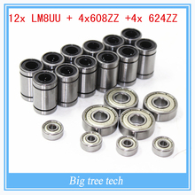 12 x LM8UU 4 x 608ZZ 4x 624ZZ Bearing Kit Prusa i3 Rework RepRap 3D Printer