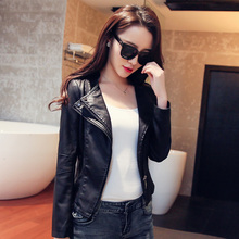 2016 motorcycle casual fashion small leather clothing women's design slim short leather jacket outerwear PU