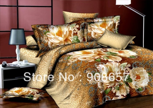 cheap 3D bedding sets discount oil painting brown flower leopard skin print queen/full duvet covers sets 4pc for quilt/comforter