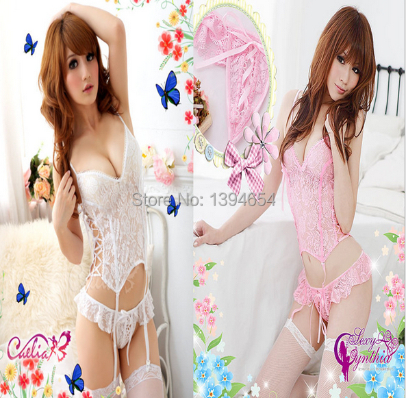 Ladies Sexy Lingerie Set Backless Babydoll Mini Dress Underwear +G-string gown costumes baby doll underwear pajamas for women(China (Mainland))
