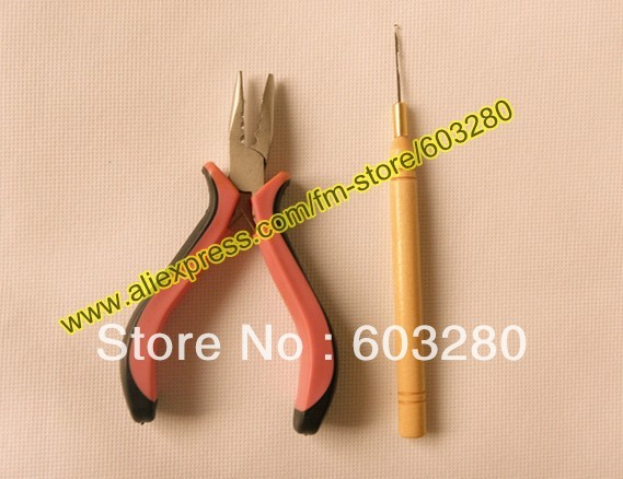 1 hair plier + 1 Wooden Hook threader/puller for micro rings/links/beads human hair extension 2 items/LOT<br><br>Aliexpress