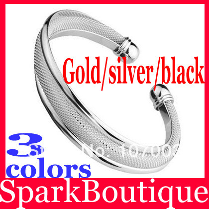 (38% off on wholesale) 3 Colors 925 Sterling Silver Polished Mesh Cuff Bangle Bracelet