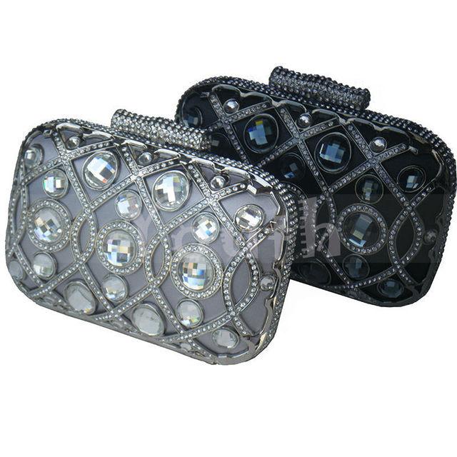 Роскошные мода! подборки кристалл мешок вечера трудно алмазов клатч горный хрусталь сумочка с металлическим каркасом для выпускного вечера серый - RC008