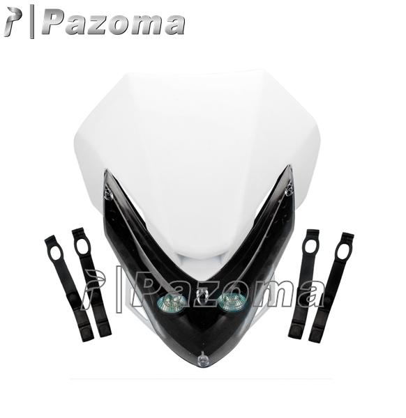 PAZOMA 2015 New White Universal Supermoto Motorcycle Headlight Head Light Fairing Street fighter Enduro Cross Free shipping(China (Mainland))