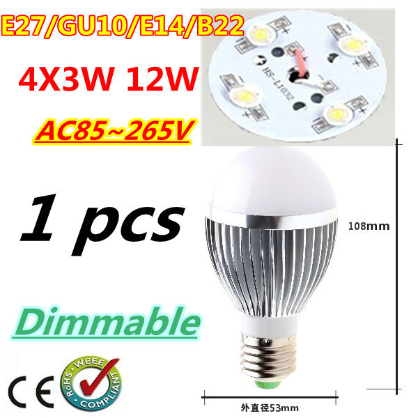 1pcs/lot Retail Dimmable Bubble Ball Bulb AC85-265V 12W E14 E27 B22 GU10 High power Globe light LED Light Bulbs Free shipping