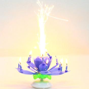 Удивительные романтический фейерверк музыкальный лотоса вращающихся днем на день рождения свеча красочные радуга музыка день рождения свечи