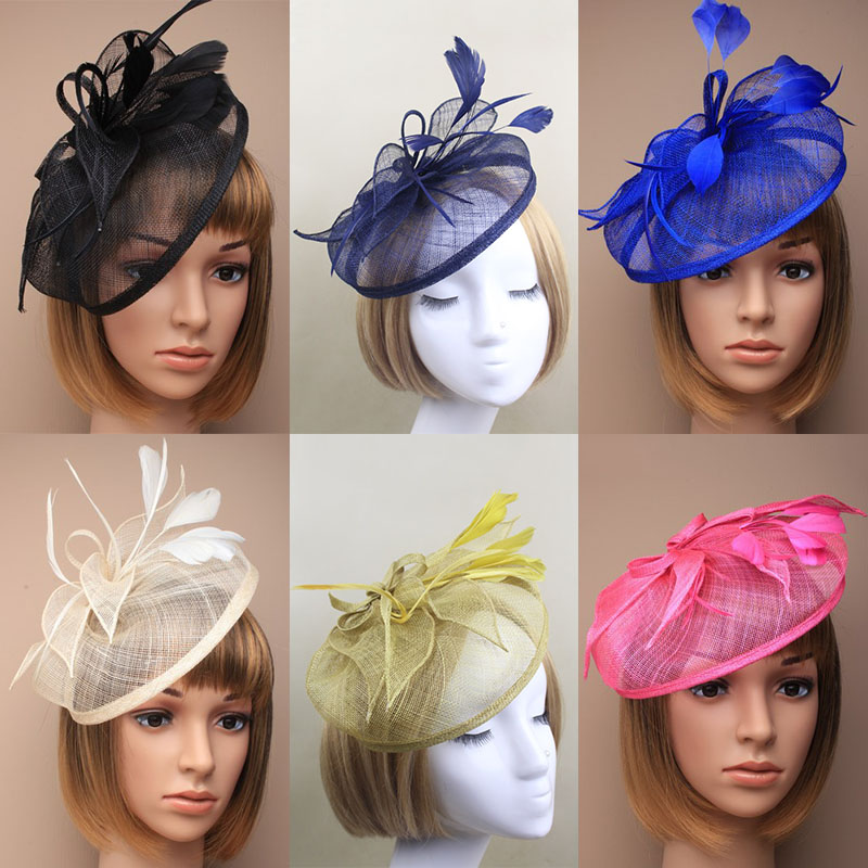 Hot selling Sinamay Fascinator Hat,Feather Fascinator hat navy blue, red,black,beige/ivory,yellow,royal fascinator hat(China (Mainland))