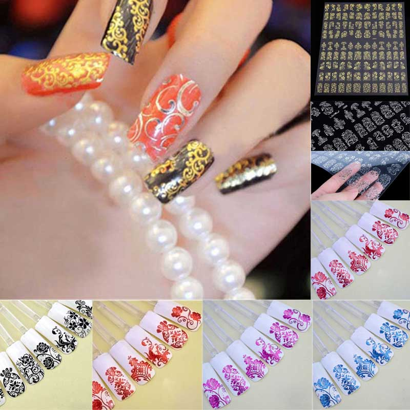 108pcs/1 Sheet Fashion Women Beauty Flower Nail Stickers Manicure Decals Stamping French Nail Art 3D DIY Tips Tool(China (Mainland))
